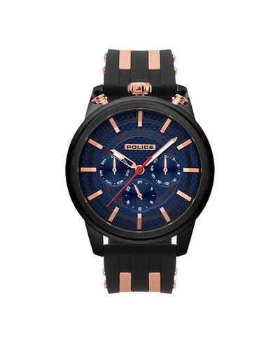 POLICE UPSIDE BLUE DIAL BLACK STRAP WATCH