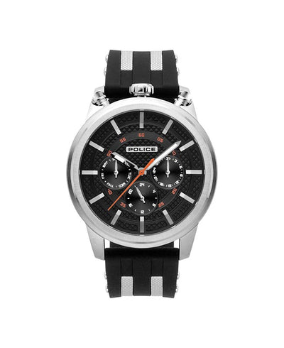 POLICE UPSIDE BLACK DIAL BLACK STRAP WATCH