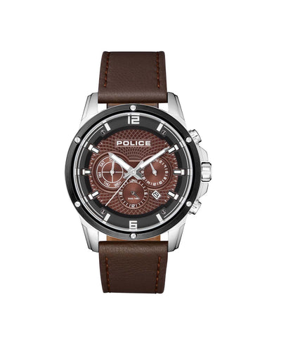 POLICE SHANDON D/BRN DIAL DARK BROWN STRAP WATCH