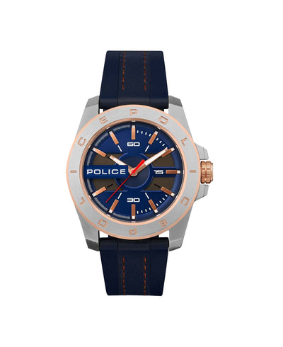 POLICE CHELTENHAM BLUE DL D/BLUE SILICON WATCH