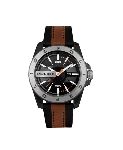 POLICE CHELTENHAM BLACK DL BLACK/BROWN SILICON STRAP WATCH