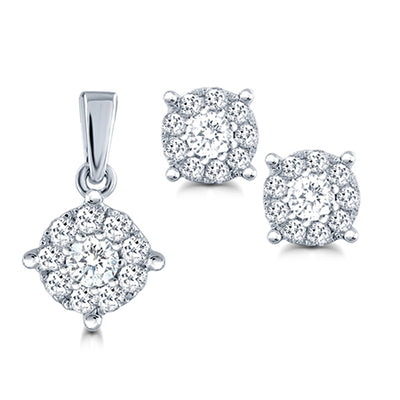 10KW Cluster earrings pendant set