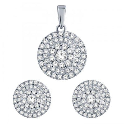 14KW Round cluster earrings pendant set