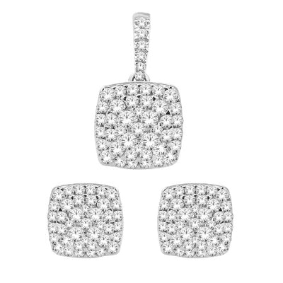 14KW Cushion cluster earrings pendant set