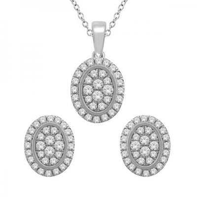 14KW Oval earrings pendant set