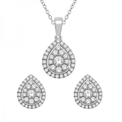 14KW Drop shaped earrings pendant set