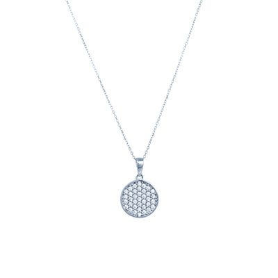 Verve circle pendant necklace with cubic zirconium