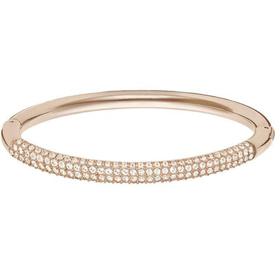 SWAROVSKI STONE MINI BANGLE, WHITE, ROSE GOLD PLATING