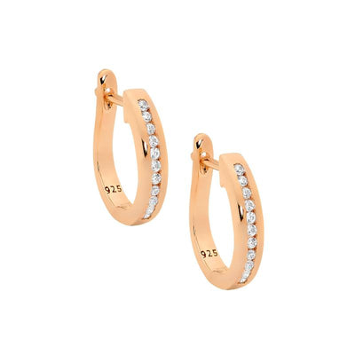 Ellani sterling silver rose gold hoop earrings/E251R