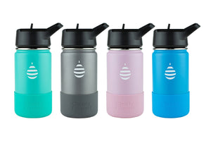 "12 oz Junior Stainless Steel ""Sip & Filter"" Travel Bottle Double-Walled Insulation / Removes Fluoride, Perfect for Kids (by Clearly Filtered®)"