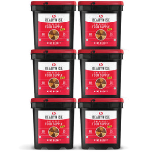 ReadyWise [360 Servings] Meat Bucket + 120 Servings of Rice [Emergency Disaster Storable Food Prep]