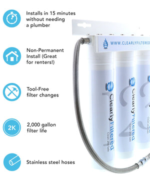 "3-Stage Under-Sink Filter / ""Simple DIY Installation"" / Removes 99.5% Fluoride and 232+ Contaminants / Lifetime Guarantee (by Clearly Filtered®)"