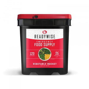 Vegetables Grab & Go Bucket / Gluten-Free / 120 Servings / Emergency Disaster Storable Food Prep (by ReadyWise)