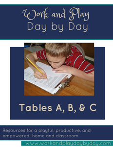 Montessori Printable Tables A, B, & C