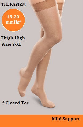 Therafirm 15-20mmHg UNISEX Mild Support Thigh-High w/ Silicone Dot Band