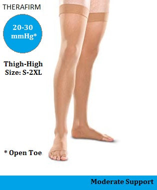 Therafirm 20-30 mmHg Moderate Support Thigh-High Open-Toe