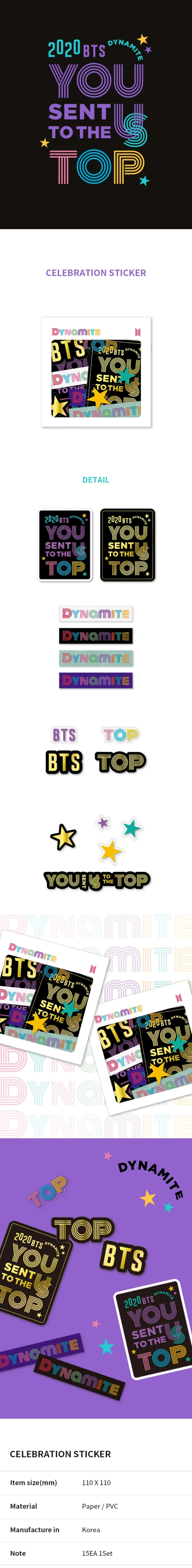 BTS Dynamite Celebration Oficial Merchandise - Celebration Sticker