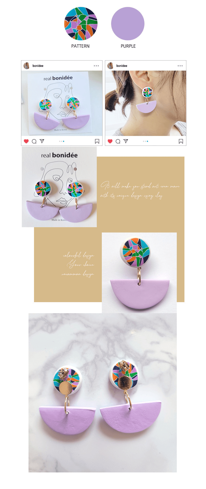 bonideé Handmade Clay Earrings - Color Dot Antique
