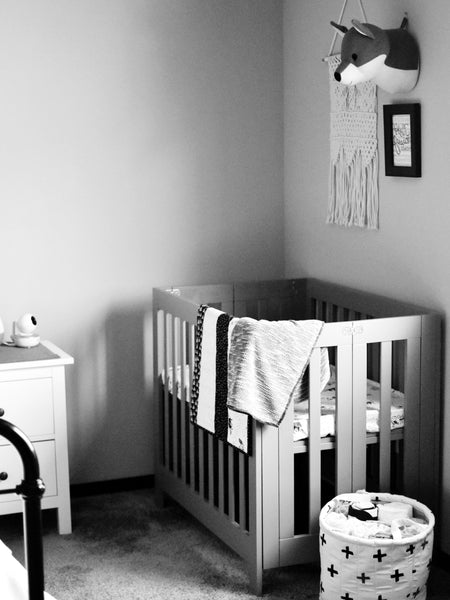 Monochrome nursery, black & white, wee gallery, woodland theme nursery.