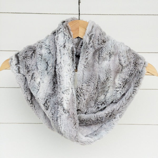 Chickadee Luxe Cuddle Infinity Scarf in Sterling Silver Fox Minky