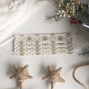 Face Mask in Gold Ornament Stars by Indy Bloom Design
