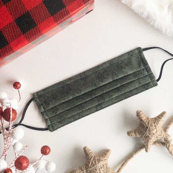 Face Mask in Home for the Holidays Winter Pine