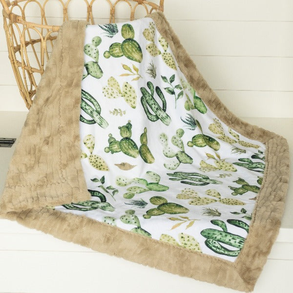 Wild West Cactus by Hip Kids Design Minky with Cashew Luna Luxe Minky