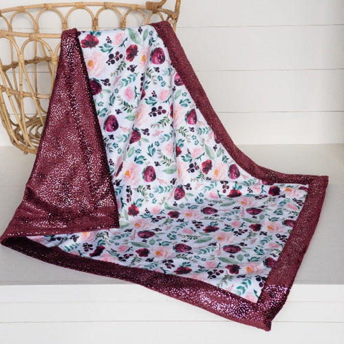 Wild at Heart Floral by Shop Cabin Minky with Merlot Sparkle Minky