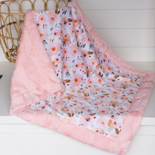Peachy Blossoms Floral by Indy Bloom Design Minky with Shell Luxe Minky