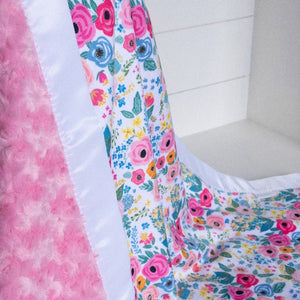 Frolic by Shop Cabin Minky with Paris Pink Rosette Minky