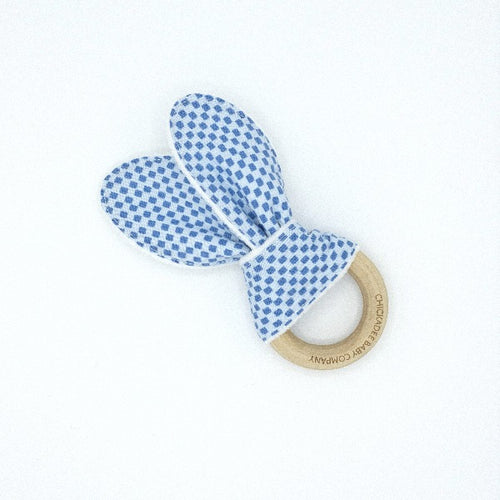 Rifle Paper Co. Wildwood Checkers Blue Birch Teething Ring