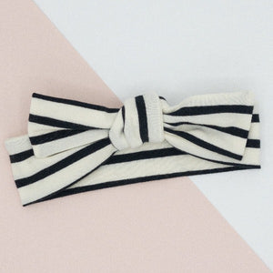 Knotted Bow Knit Headband in Black & White Stripe