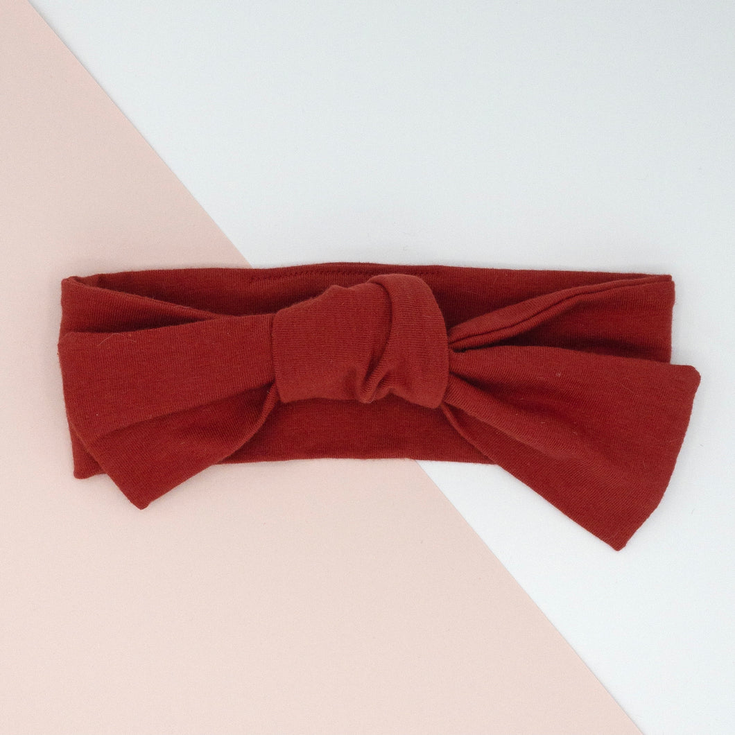Knotted Bow Knit Headband in Crimson