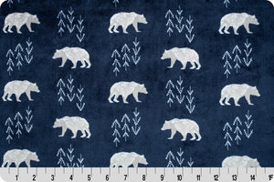 Fitted Crib Sheet in Bearprint in Navy Minky