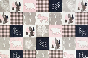 Blush Cabin Quilt Minky with Gray Chenille Luxe Cuddle
