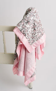 Blush Leopard Fur Minky with Blush & Silver Sparkle Back