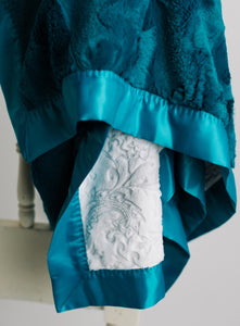 Mallard Luxe Cuddle Minky with White Embossed Paisley Minky