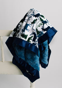 Forest Park Navy Minky with Denim Luxe Cuddle Minky