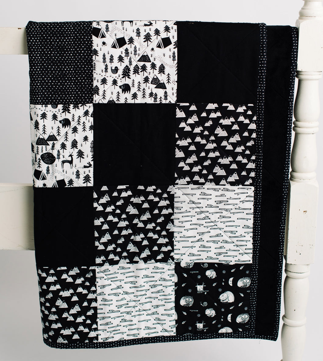 Adventure Awaits Black & White Wee Gallery Patchwork Toddler Quilt