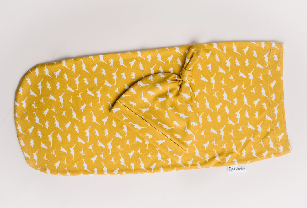 Swaddle Pod in Mustard Dinos