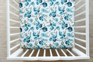 Fitted Crib Sheet in Rosie Floral in Mallard Minky