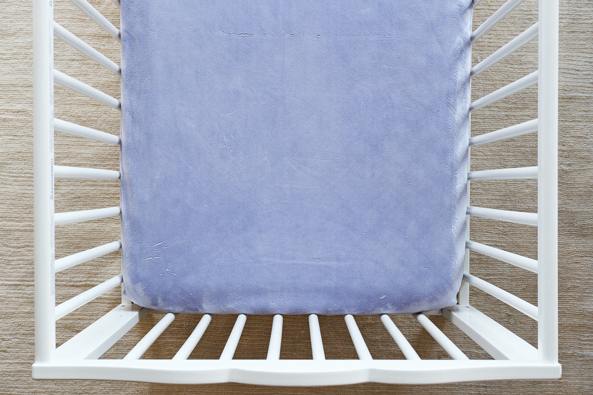 Fitted Crib Sheet in Solid Lavender Minky