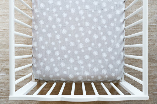 Fitted Crib Sheet in Dandelion Wishes in Silver Minky