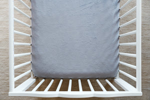 Fitted Crib Sheet in Solid Graphite Minky