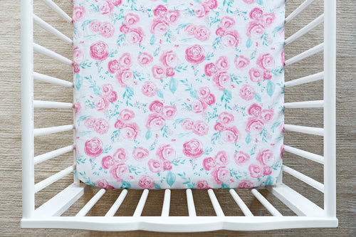 Fitted Crib Sheet in Rosie Floral in Blush Minky