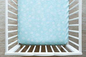 Fitted Crib Sheet in Dandelion Wishes in Saltwater Minky