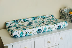 Contoured Changing Pad Cover in Mallard Rosie Floral
