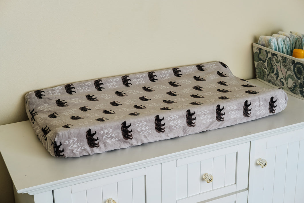 Contoured Changing Pad Cover in Bear Foot Cuddle Steel