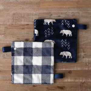 "Navy Bearprint 8"" Binky Minky Lovey"