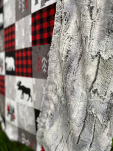 Cabin Quilt in Scarlet Patchwork Minky with Silver Fox Faux Fur